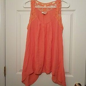 EUC Kenar drape swing orange tank top lace detail